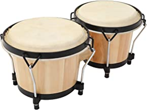 """MUSICUBE Bongo Drum Set, 2 Sets 6"""" and 7"""" Percussion Instrument, FSC Wood and Metal Drum for Kids Adults Beginners Profess..."""