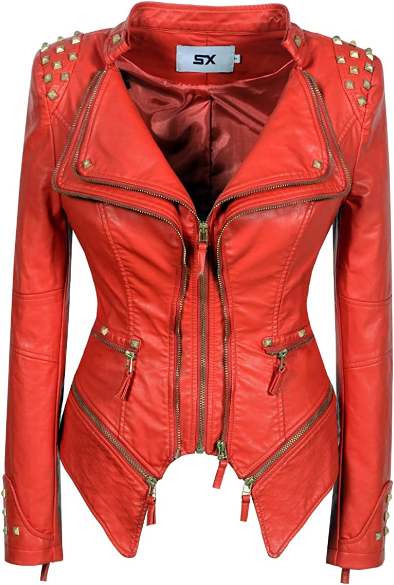 SX Womens Faux Leather Zip Up Moto Biker Jacket with Stitching Detail