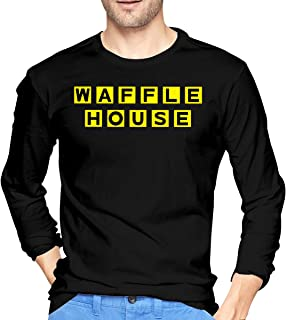 Men's Casual Waffle House Tee T Shirt Long Sleeve O-Neck Cotton T-Shirt Sports Tops Plus Size Tshirt for Teens