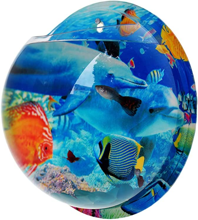 GFEU Wall Mounted Fish Tank Aquarium Bowl Acrylic Wall Hanging Hydroponic Plant Vase Decoration