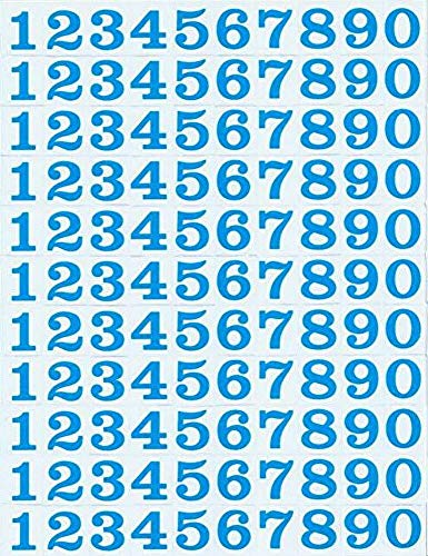 (シャシャン)XIAXIN 防水 PVC製 数字 ナンバー ステッカー セット 耐候 耐水 数字 キャラクター ミニサイズ 表札 スーツケース ネームプレート ロッカー 屋内外 兼用 TSS-106 (1点, サックスブルー)