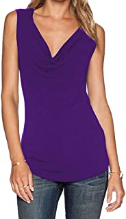 Women's V Neck Ruched Sleeveless Sexy Blouse Stretch Tank Tops