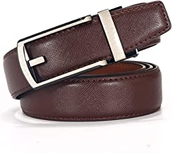 Men's Reversible Belt Casual Leather Belt Brown And Black With Automatic Buckle. Casual (Color : Brown, Size : 115cm)