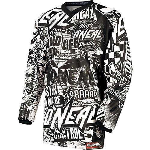 O'Neal Maillot Element Wild en jersey pour enfant, noir et blanc, pour motocross, VTT Enduro, VTT de descente, 0025W-8 Small noir