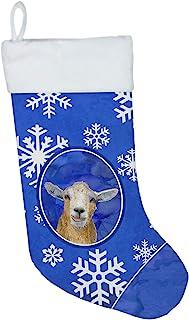 Caroline's Treasures Goat Winter Snowflakes Holiday Christmas Stocking, 11 x 18, Mulitcolor