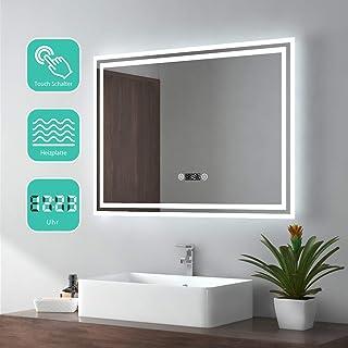 EMKE Espejo de Baño Espejo de baño Espejo LED Espejo de Pared con Interruptor Táctil+Antivaho+Reloj Digital,IP44,57W,Blanco Frío(80x60cm)
