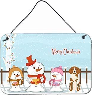 """Caroline's Treasures BB2403DS812 Merry Christmas Carolers Brittany Spaniel Wall or Door Hanging Prints, 8"""" x 12"""", Multicolor"""