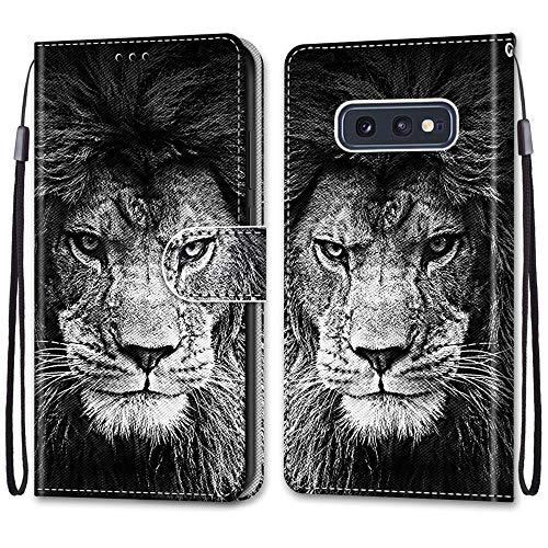 Nadoli Handyhülle Leder für Samsung Galaxy S10e,Bunt Bemalt Cool Schwarz Weiß Löwe Trageschlaufe Kartenfach Magnet Ständer Schutzhülle Brieftasche Ledertasche Tasche Etui
