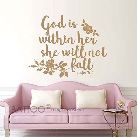 God is within her she will not vinyl wall art decal sticker home house decor decoration lettering quote inspirational uplifting motivational