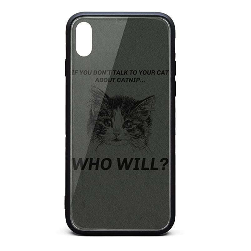 Cool Phone Case for iPhone Xs Cool Catnip Talk to Your Cat Rubber Frame Tempered Glass Covers Designer Shock-Absorption Skid-Proof Never Fade Mobile Cases Apple Fancy jwfjkfnk296056