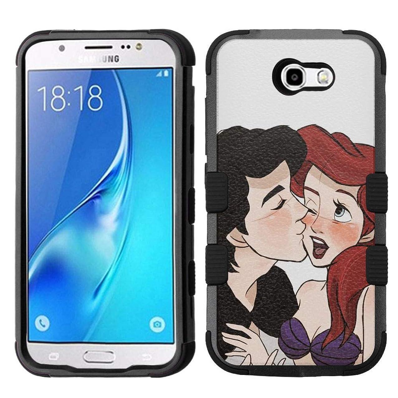 for Galaxy J7 Prime, J727 (2017), Galaxy J7 V, Galaxy J7 Perx, Galaxy J7 Sky Pro, Hard+Rubber Rugged Impact Cover Case - Ariel Mermaid #Kiss
