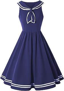Ez-sofei Women's Vintage 1950s Navy Sailor Uniform Suit Dress Swing Party Dress