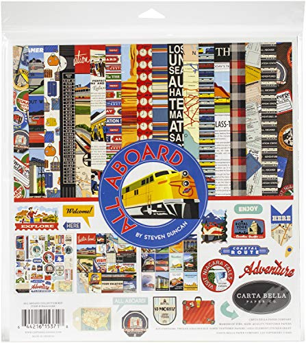 Carta Bella ALL ABOARD COLL 12X12 KIT, us:one size, Yellow, Blue, Red