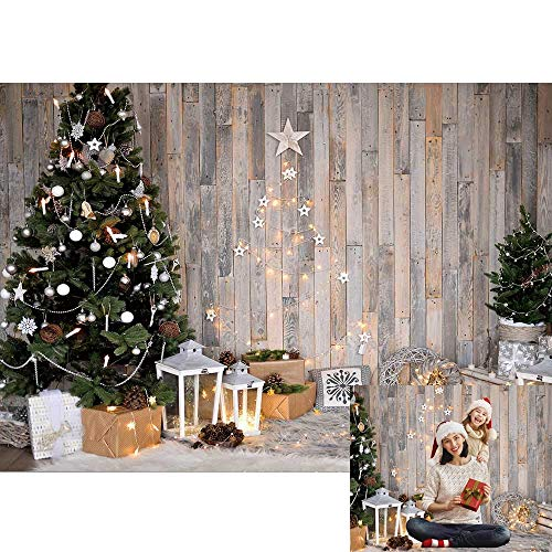 Allenjoy Christmas Rustic Wood Indoor Backdrop for Photography Xmas Tree Vintage Wooden New Year Background 7x5ft Winter Kids Newborn Baby Portrait Photo Studio Booth Photoshoot Photographer Props