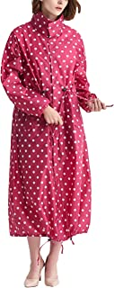 CAMLAKEE Abrigos Impermeables para Mujer - Chubasquero Estampado con Capucha Largo - Chaqueta de Lluvia Ligero