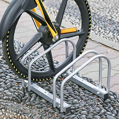 HENGDA Fahrradständer für 2 Fahrräder, Verzinktem Stahl, Boden- und Wandmontage,  Fahrradhalter Mehrfachständer, LBH: ca. 41 x 32 x 26 cm, Silber