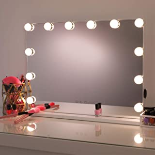 Hollywood Mirror Makeup Vanity Mirror with Lights,Professional Hollywood Style Smart Touch Design, Dimmable Bulbs in 3 Col...