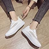 Comfortable Platform Loafers for Women, Women Athleitc Shoes Running Walking Tennis Shoes Non-Slip Breathable Fashion Sneakers, Casual Flat Walking Shoes for Daily Wear Comfortable (White, 7.5)