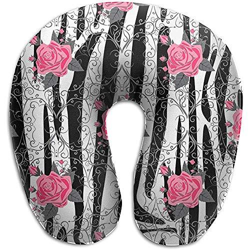 Forma De U Almohada,Rayas De Cebra con Flores De Rosa Roja Flores Almo