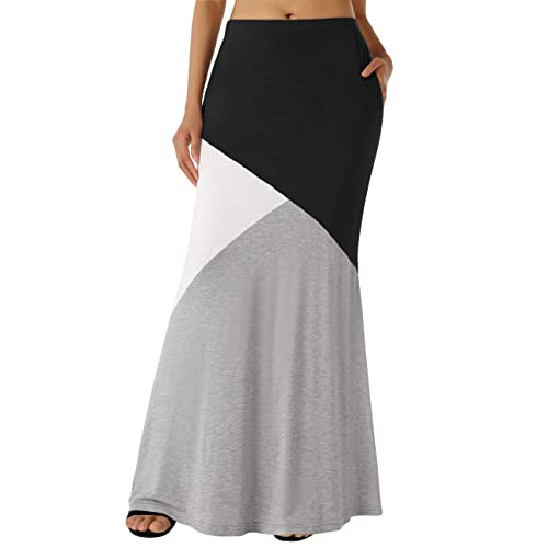 56883c3be5 DJT Women's Color Block High Waist Comfy Long Maxi Skirt with Pockets