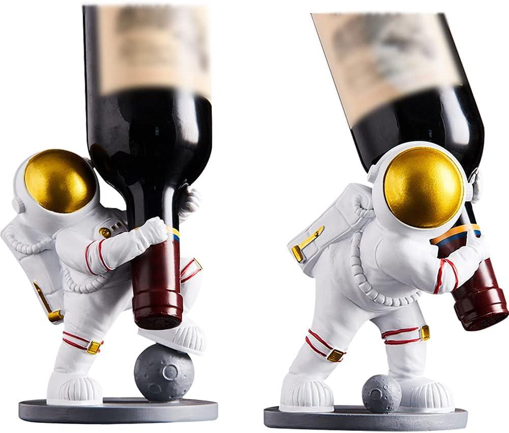 Pearlead 2Pcs Creative Resin Luxury Al sold out. Astronaut Sculpture Wine Sto Bottle