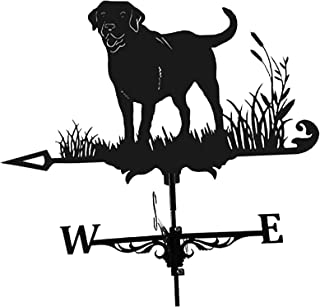 FPWW Iron Labrador Retriever/Dog Cottage Weathervane, Includes Roof Mount for Garden Patio Yard Ornament Decoration