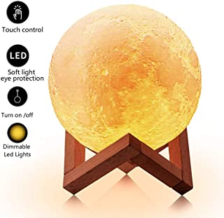 LOFTEK 7.1-inch 3D Moon Lamp, Cool Mood Lamp with Stand, Touch Control Night Light for Kids, 5V USB Fast Charging, Perfect Choice for Kids Lover Birthday Gifts (Warm and Cold Light)