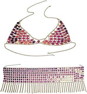 Taiguang 2Pcs//Set Fashion Women Mesh Chain Acrylic Sequins Body Chain Top Skirt Jewelry