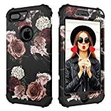 Case for iPhone 7 Plus,Case for iPhone 8 Plus,Digital Hutty 3 in 1 Shockproof Heavy Duty Full-Body Protective Cover for Apple iPhone 7 Plus,iPhone 8 Plus Marble Flower