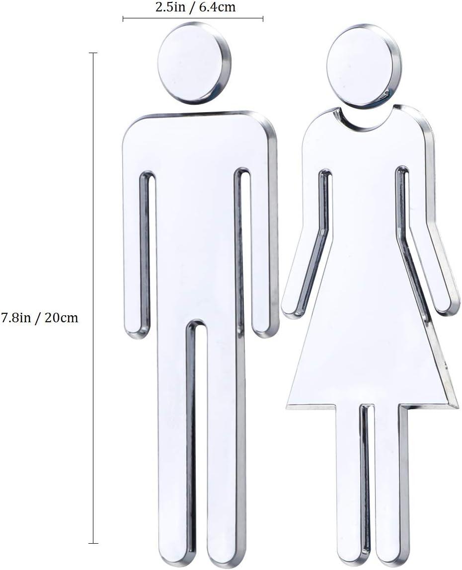 12 cm de haut h/ôtel restaurant ABS et dos adh/ésif pour maison symbole de salle de bain bureau GlobalCrown Lot de 2 panneaux de porte de toilettes autocollants pour homme et femme