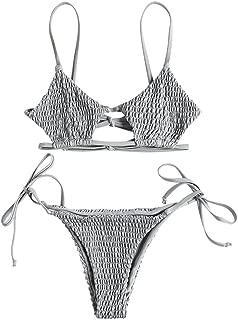 ZAFUL Women's Spaghetti Strap Keyhole Tie Side Smocked String Bikini Set
