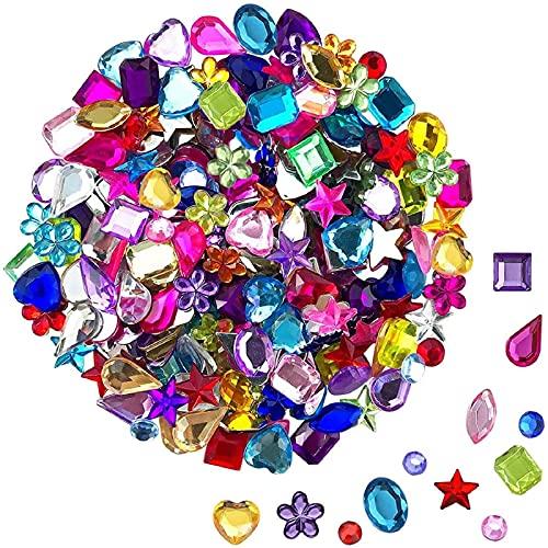 JPSOR 900pcs Gems Acrylic Flatback Rhinestones Gemstone Embellishments, 9 Shapes, 6-13mm