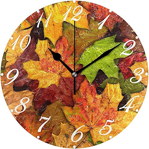 Silent Picture Autumn Leaves Decoratieve diameter wandklok rond