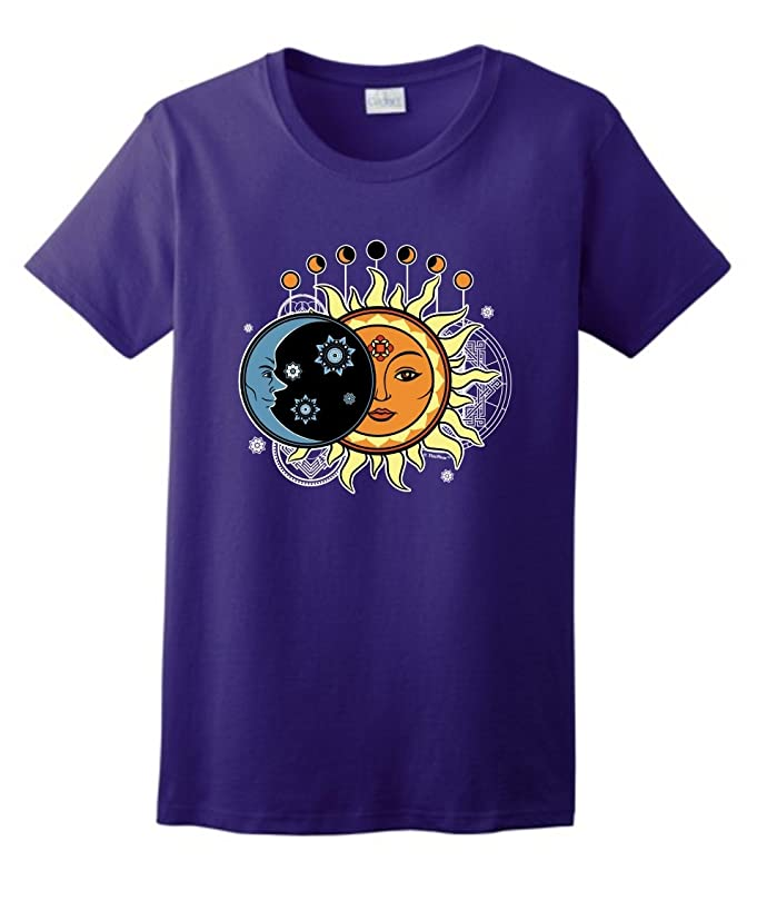 ThisWear Astrology Gifts Sun and Moon Mandala Ladies T-Shirt