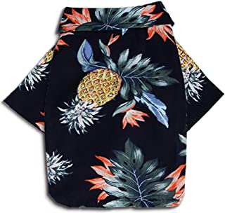 MaruPet Doggie Summer Pineapple Print Polo T Shirts Hawaiian Style Sun Protection Lightweight Pet Air Conditioning Clothes Dog Cotton Sunscreen T-Shirtfor Small, Extra Small Dog Navy L