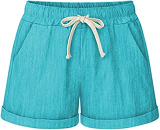 Sobrisah Women's Summer Drawstring Elastic Waist Casual Comfy Cotton Linen Beach Shorts with Pockets