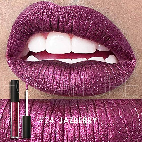 Focallure Lipstick Metallic Purple Lipgloss Makeup Womens Sparkly Glitter Stay On Long Lasting Liquid Waterproof Lip Gloss Purple