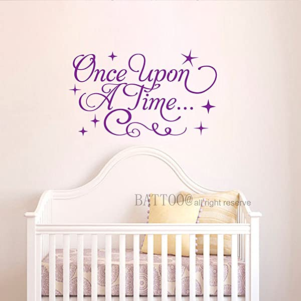 BATTOO Once Upon A Time Decal Fancy Stars Decal Nursery Decor Girls Room Wall Decor Girls Nursery Decal Playroom Decor Vinyl Wall Quote 16 W By 9 5 H Purple
