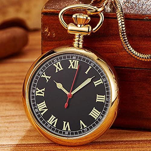 Reloj de bolsillo, reloj de bolsillo mecánico de la vendimia brillante Skeleton Hand Lift Golden Hombres Mujeres Pocket Colgante Cadena Reloj de Copos Reloj de bolsillo Regalos ( Color : Gold )