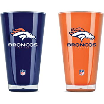 NFL Denver Broncos Pint GlassSatin Etch 2 Pack One Size Clear