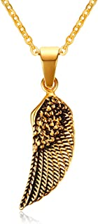 "HUANIAN Stainless Steel Gold Plated Eagle Feather Wing Pendant Necklace for Men- with 19"" Chain"