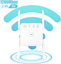 $49 » 1200Mbps WiFi Range Extender, Carantee Wireless Signal Repeater Booster 2.4 & 5GHz Dual Band 4 Antennas 360° Full Coverage to Provide a Stable Network for Online Working and Enjoy Devices (White)