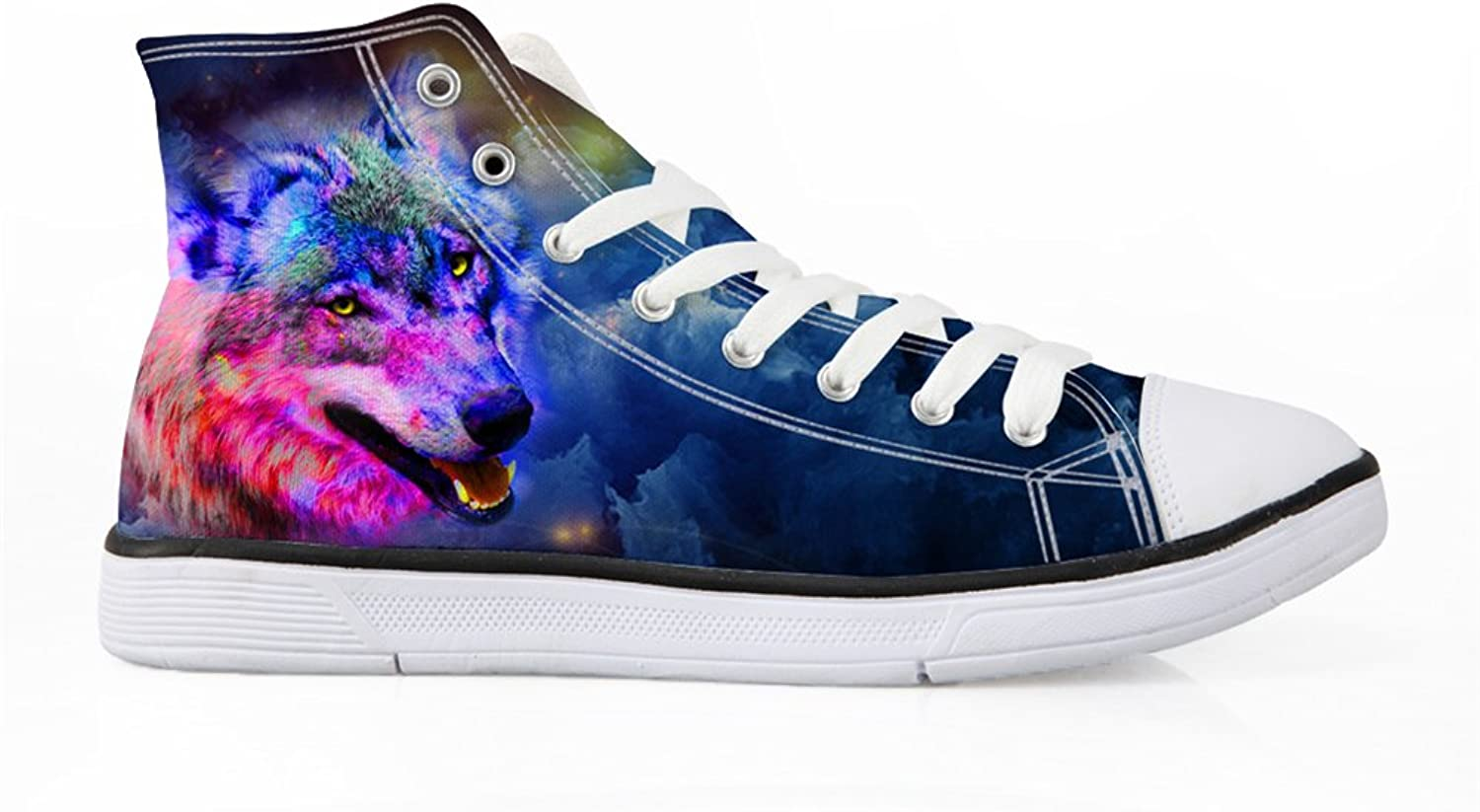 Bigcardesigns Lace-ups Sneakers Men Male Casual Canvas shoes Fashion High Tops Plimsolls Wolf Print Walking Jogging Athletic shoes