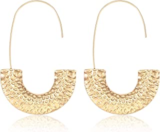 Statement Wire Drop Dangle Earrings Punk Chunky Metal Hoop Earrings Fashion Jewelry for Women Girls