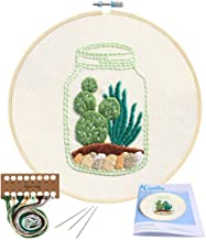 Bamboo Embroidery Hoops Color Threads and Tools Kit HaiMay 3 Sets Embroidery Starter Cross Stitch Kit with 3 Pieces Cactus Pattern