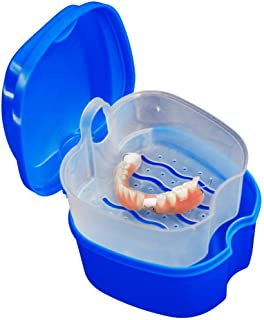 Fan-Ling Denture Bath Box Case, Denture Cup with Strainer Net, False Teeth Storage Box with Basket Net Container Holder for Travel,Non-toxic and No Smell (dark blue)