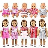 Miunana 5 Sets Kleid Puppenkleidung Kleidung Kleider Schlafanzug für 36cm Babypuppe