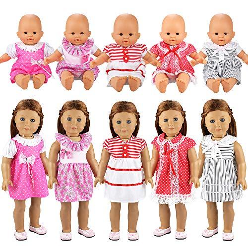 Miunana 5 Sets Kleid Puppenkleidung Kleidung Kleider Schlafanzug für 36cm Babypuppe Puppen American Girl Doll Ohne Puppe