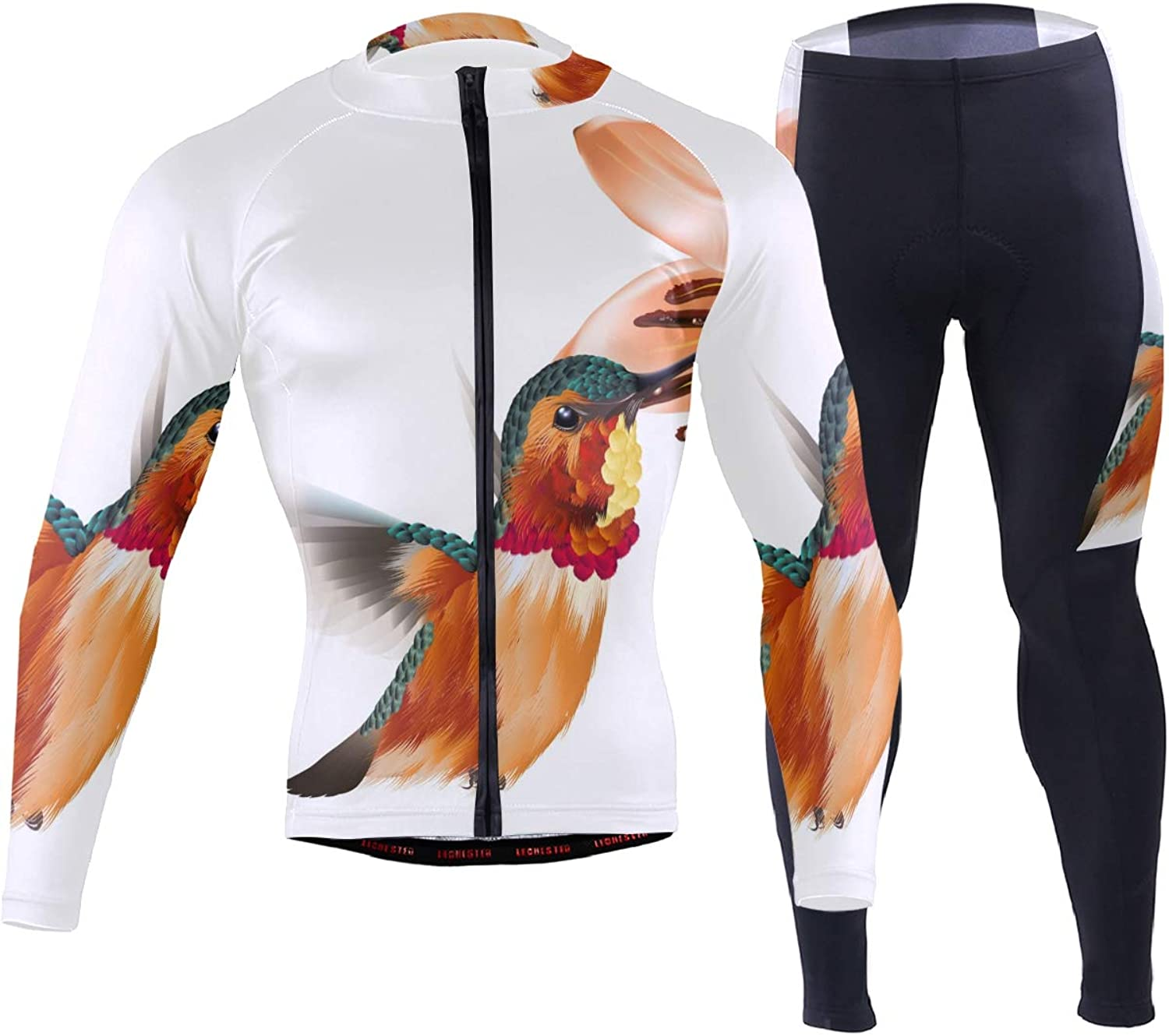 FAJRO Bird Pollen Pattern Sportswear Suit Bike Outfit Set Breathable Quick Dry 3D Padded Pants