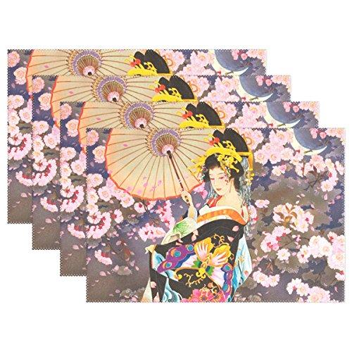 LIANCHENYI Magnifique japonais Geisha Girl Under Moonlight résistant à la chaleur Sets de table, Polyester Table Set de table pour salle à manger de cuisine 1 pièce